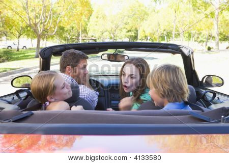 Families In Convertible Car Arguing