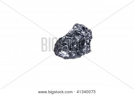 Piece Of A Small Anthracite Coal, Isolated On White