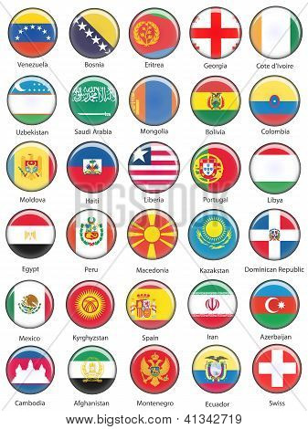 Vector World Flag Buttons - Pack 8 of 8