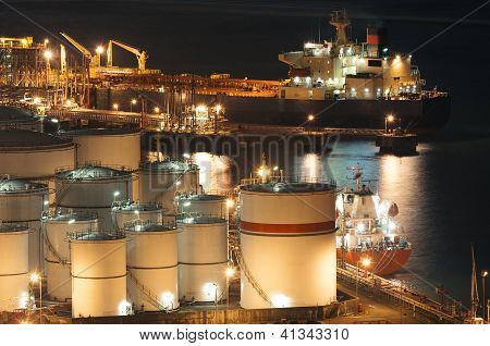 Oil storage tanks and oil ship
