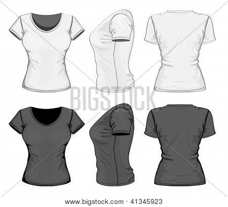 Vector. Women's t-shirt design template (front, back and side view). No mesh.