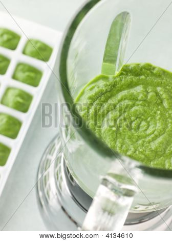 Broccoli And Spinach Baby Food Puree In A Food Blender