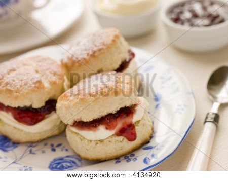 Scones Tea Clotted Cream And Jam