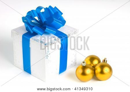 New year gift box isolated on white