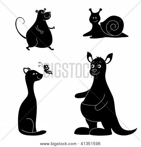 Cartoon animals, silhouette