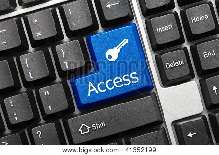 Conceptual Keyboard - Access (blue Button With Key Symbol)