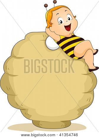Smiling Baby Boy in Bee Costume Lying on a Beehive Blank Board