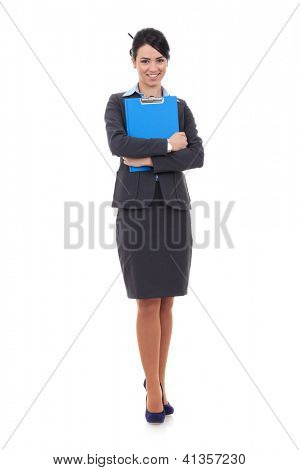 Portrait of happy smiling businesswoman with notepad or organizer, isolated on white background