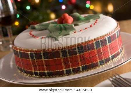 Decorated Christmas Fruit Cake