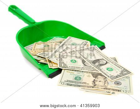 Money and scoop. On a white background.