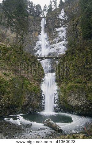 Multnomah Falls In Winter