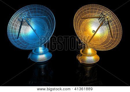 3d satellite dishes on the black background