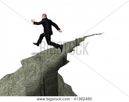 caucasian businessman jump over crevasse