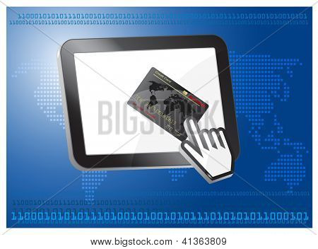 credit card vector with computer cursor, on tablet desktop, Internet cashless payment