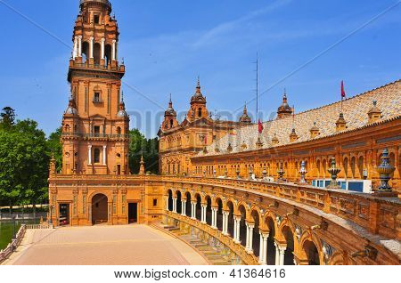 A view of Plaza de Espana, in Seville, Spain