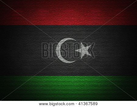 Libyan Flag Wall, Abstract Grunge Background