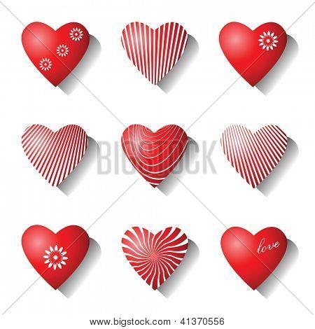 Heart icons. Valentine design elements set. Vector art.