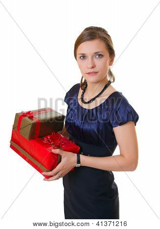 Young Business Woman With Gifts