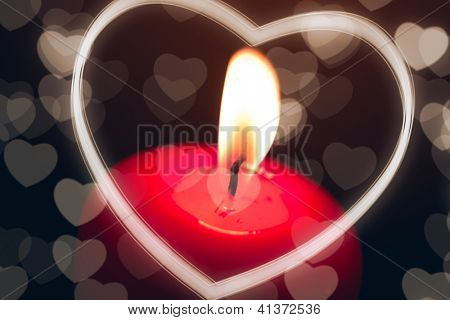candle with heart