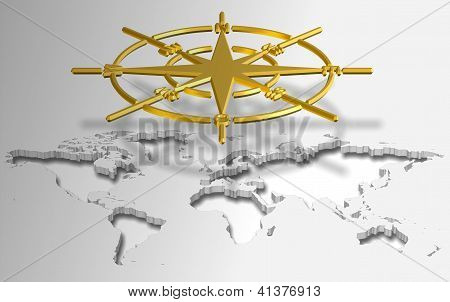 Compass And World Map