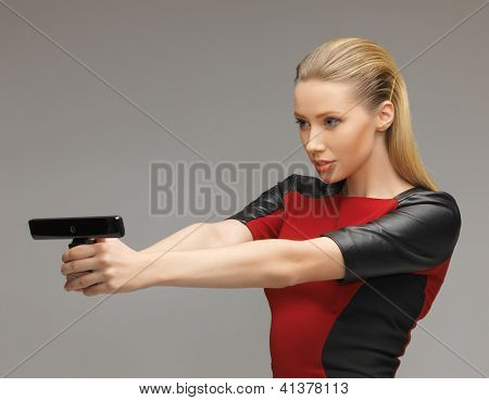 bright picture of futuristic woman with gadget