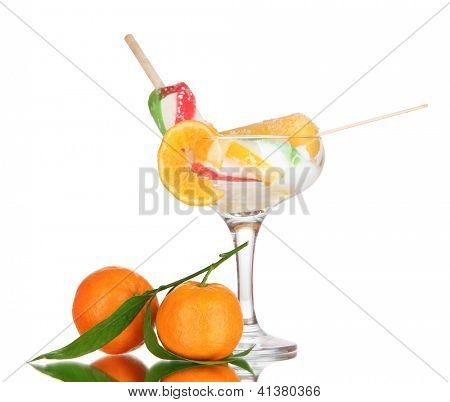 Two fruit juice ice in vase isolated on white