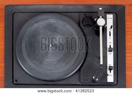Top View Of Vintage Gramophone Player