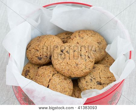 Chocolate Chips Cookies In A Tin Jar