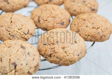 Chocolate Chips Cookies Cooling On A Wire Rack