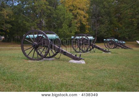 Row Of Civil War Canons