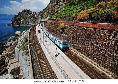 Manarola railway station, Cinque Terre, Italy