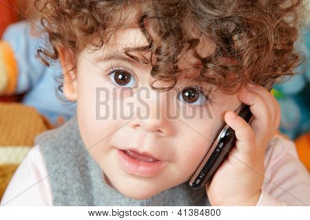 Baby Girl Talking On Phone
