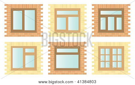 Set Exterior Wooden Windows