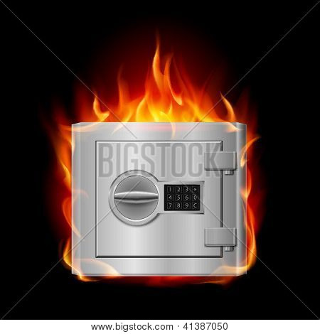 Burning steel safe