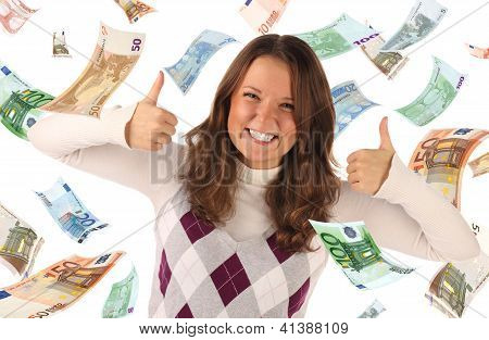 Successful Girl On Falling Euros Background