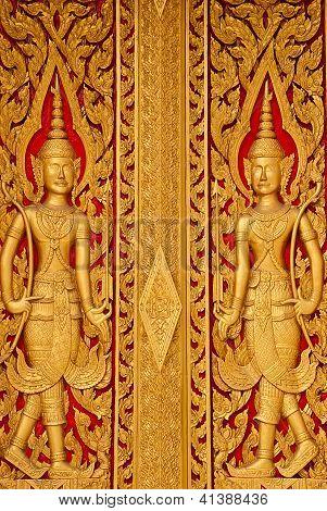 Wood Door Carves In A Temple