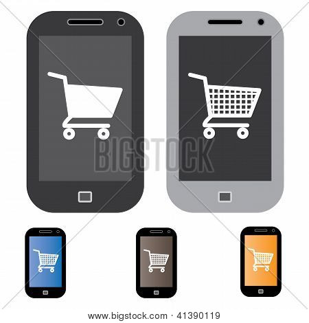 Illustration Of Online Shopping Using Mobile/cell Phone With The Concept Graphic Showing Mobile Scre