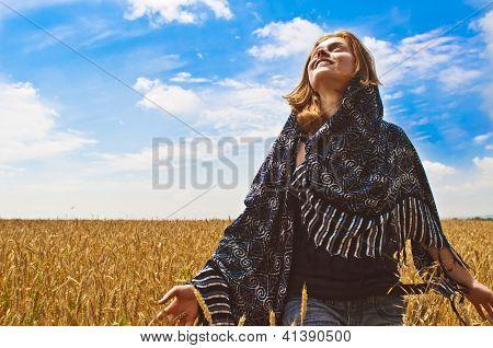 Beautiful Woman On Wheatfield I