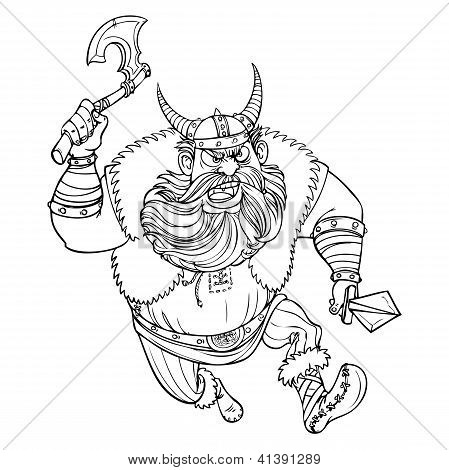 Ferocious Viking running with an ax at the enemy line drawing