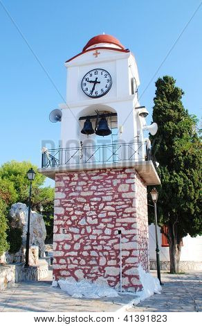 The clock tower by the church of Agios Nikolaos in Skiathos Town (Chora) on the Greek island of Skiathos.