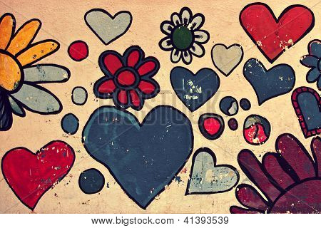Love symbol, shapes of heart painted on a wall