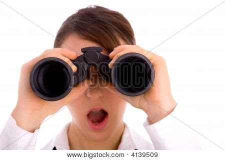 Portrait Of Woman Looking Through Binocular