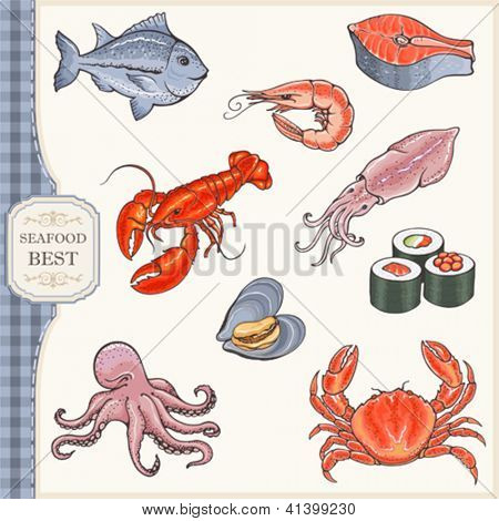 Set of seafood