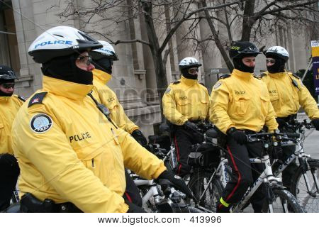 Riot Police On Bicycles