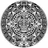 stock photo of aztec  - Vector of Mayan calendar on white background - JPG