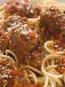 Spaghetti Meatballs Sprinkled With Parmesan Cheese poster