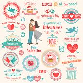 Valentine`s Day set - labels, emblems and other elements. Vector illustration.
