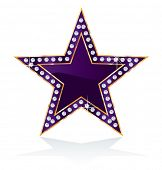 dark purple golden star with diamond screws, vector template for cosmetics, show business or somethi
