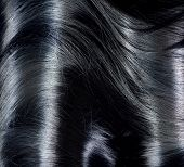 Black Hair Background. Long Dark Hair Texture