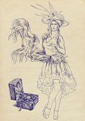 picture of vaudeville  - A hand drawn illustration of beautiful  - JPG